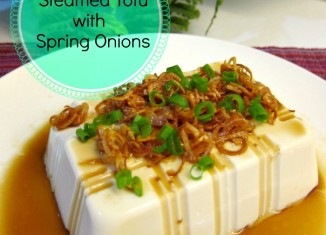 Steamed Tofu with Spring Onions