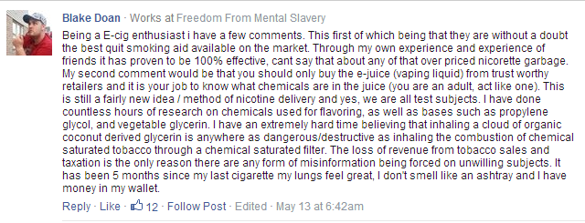 E-Cigarette FB-comment 1