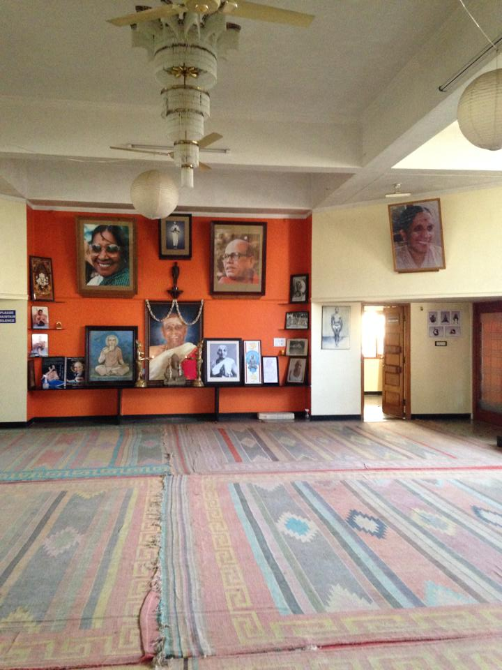 The main shala with pictures of Shri K Pattabhi Jois and his family