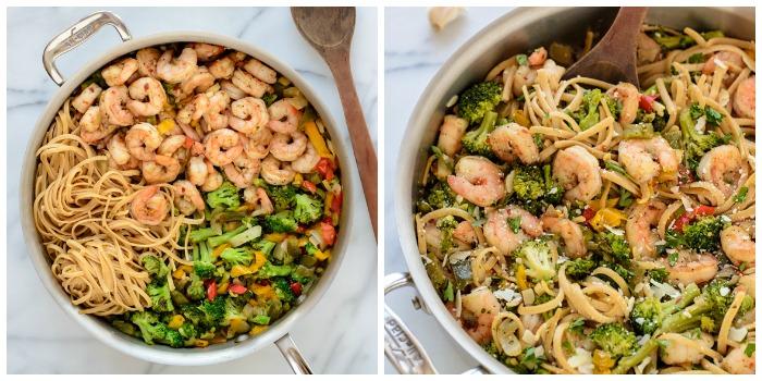 garlic shrimp pasta greens