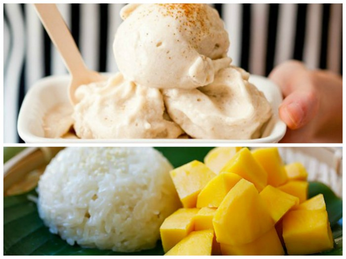 banana ice-cream mango sticky rice