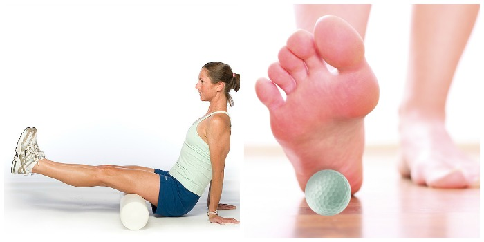 foam roller and golf ball massage