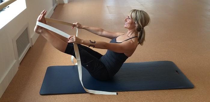 boat pose yoga strap