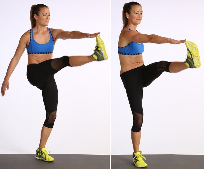 kick crunch standing abs